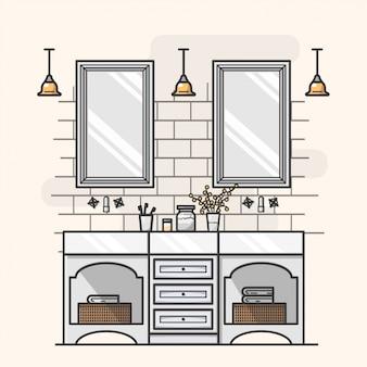 Modern bathroom interior illustration