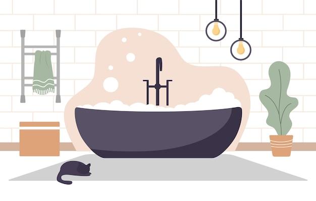 スカンジナビアスタイルのイラストでモダンなバスルームのインテリア