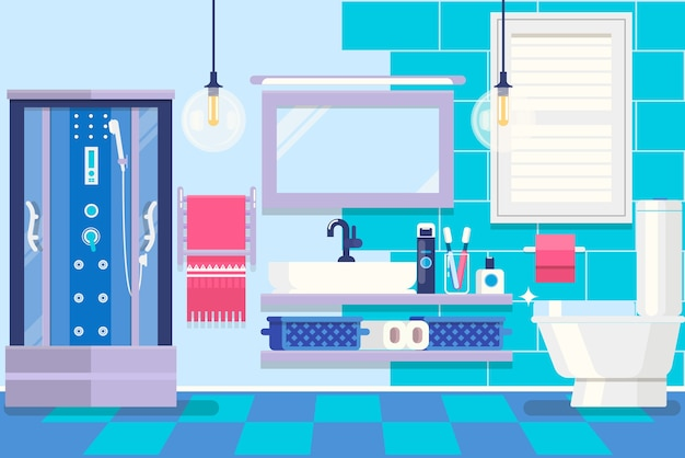 Современный интерьер ванной комнаты с мебелью. основной номер дома. векторные иллюстрации