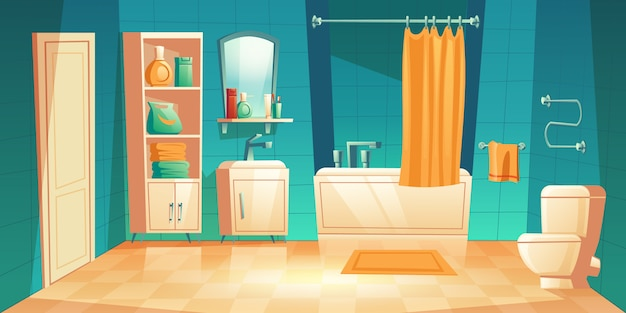 Modern bathroom interior with furniture cartoon