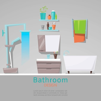 Modern bathroom interior with furniture in flat style template