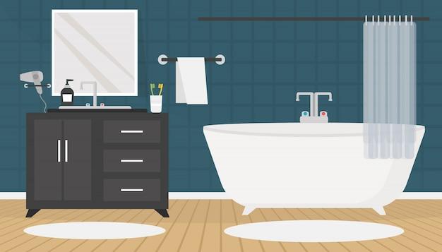 Современный интерьер ванной комнаты с мебелью в плоском стиле