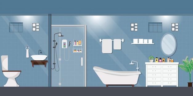 Modern bathroom interior with furniture.