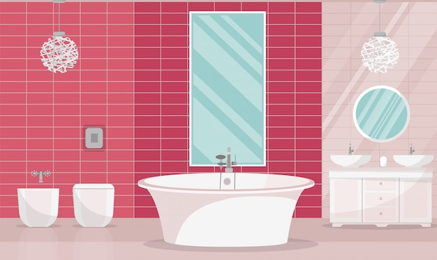 Modern bathroom interior with tub. bathroom furniture - bath, stand with two sinks, shelf with towels, liquid soap, shampoo, large horizontal mirror, window blinds. flat cartoon vector illustration