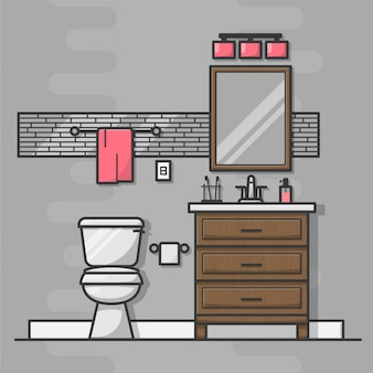 Иконки интерьера ванной комнаты