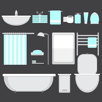 フラットスタイルに設定されたモダンなバスルームのocons-ベクトル図
