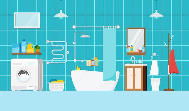 욕조와 세탁기 내부 장면이 있는 현대적인 욕실