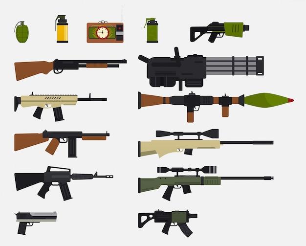 現代の戦闘兵器。軍事兵器、自動小火器、ライフル、ショットガン、リボルバー、手榴弾、爆発装置のセット。