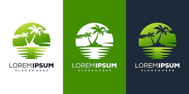 Современный дизайн логотипа пляжа