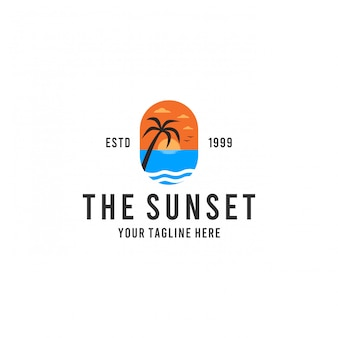 Modern beach sunset logo