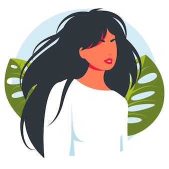 女性のモダンで美しいアバター。実在の人物の肖像画フラットスタイルベクトルデザインコンセプトイラスト女性、女性の顔と肩のアバター。