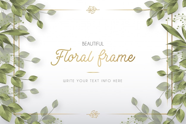 Modern beautiful floral frame with leaves template