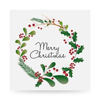 Modern beautifully designed merry christmas floral artwork