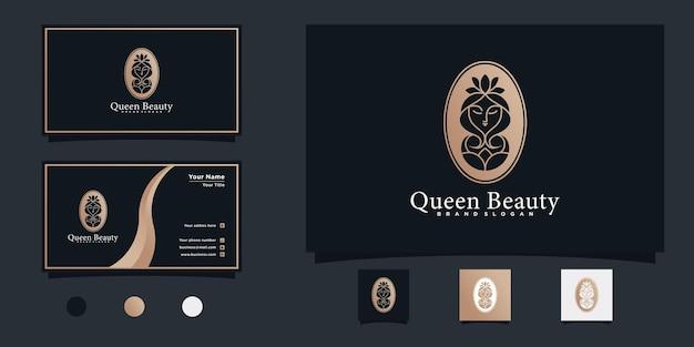 독특하고 멋진 네거티브 공간 스타일과 명함이 있는 현대적인 뷰티 퀸 로고 프리미엄 벡터