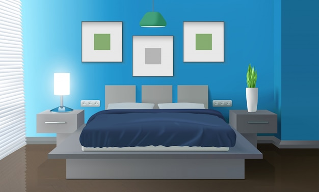 Modern bedroom blue interior