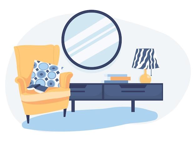 モダンなベッドルームのインテリア。アームチェア、箪笥、鏡のある寝室のコーナー。