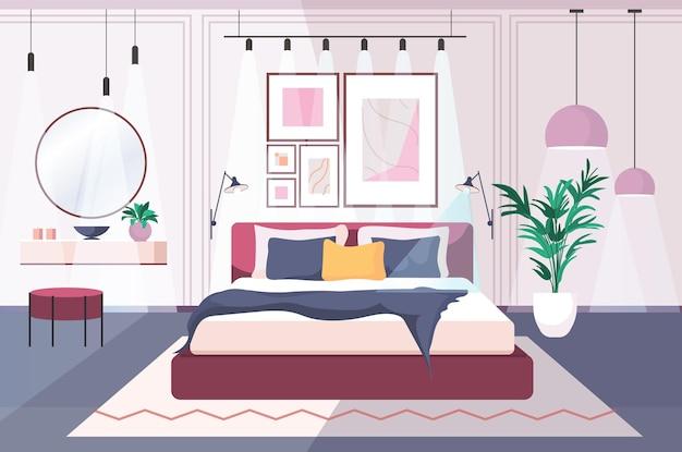 가구 수평 벡터 일러스트와 함께 현대 침실 인테리어 빈 사람 집 방