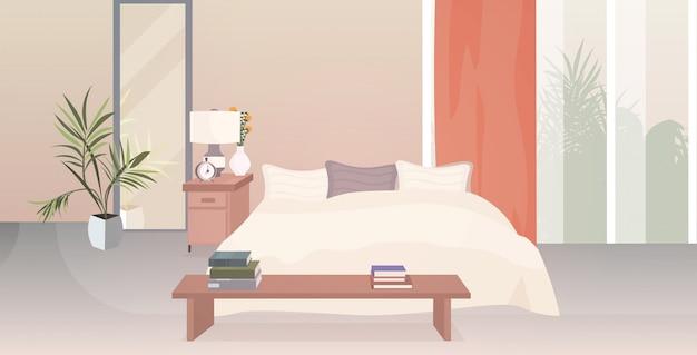Современный интерьер спальни пустой нет людей дом комната с мебелью горизонтальный