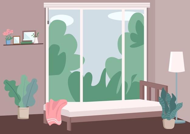 モダンな寝室のインテリアフラットカラーイラスト