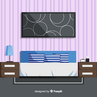 Modern bedroom interior with flat design