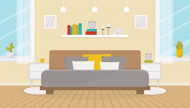 Современный интерьер спальни с мебелью. двуспальная кровать, тумбочки, большие окна, деревянный пол. дизайн дома. плоская иллюстрация.