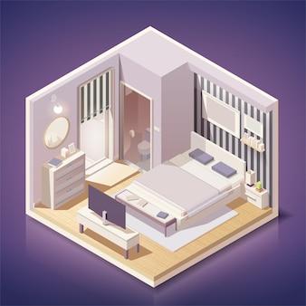아이소 메트릭 스타일의 가구와 현대적인 침실 인테리어