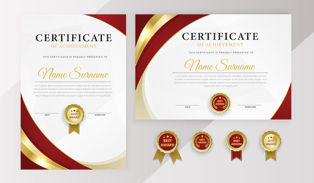 Modern best award achievement certificate diploma template set with badges