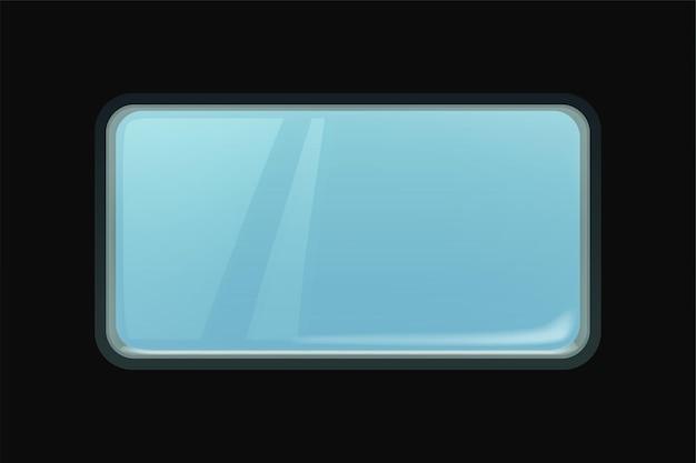 Современное большое синее прозрачное стеклянное окно прямоугольной формы