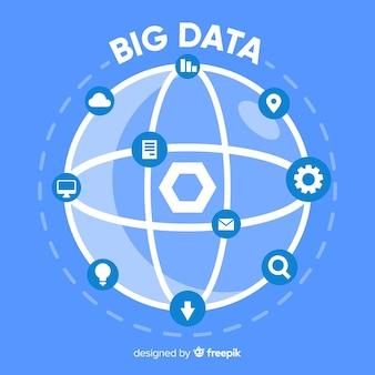 Modern big data background in flat style