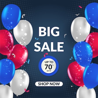 Modern big sale banner vector illustration with balloon for social media
