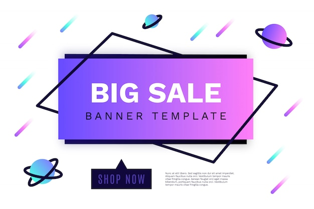 Modern big sale banner with galaxy shapes