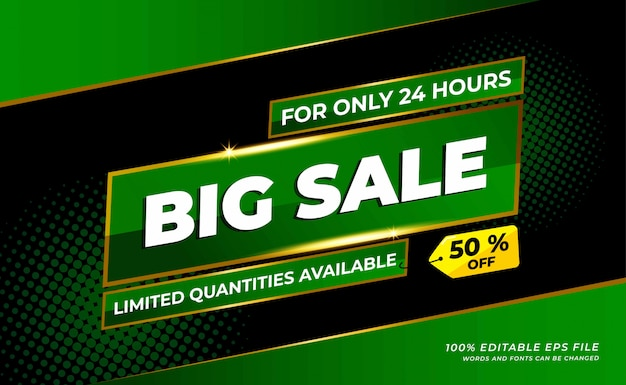 Modern  big sale banner with green colour