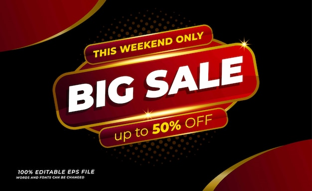 Modern  big sale banner with red colour