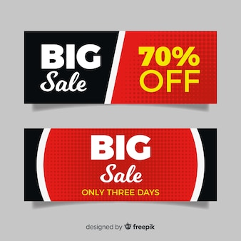 Modern big sale banners with flat design