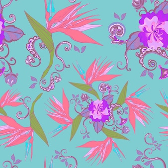 파란색 배경 위에 현대 조류의 낙원 꽃 원활한 패턴