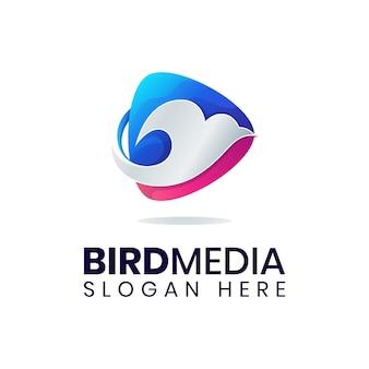 現代の鳥遊びメディアロゴテンプレート