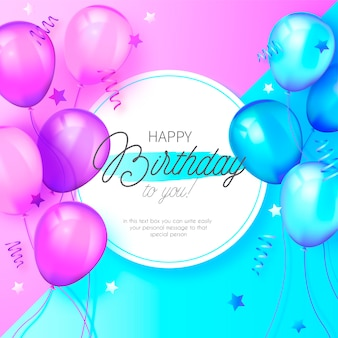 Modern birthday background with blue and pink balloons