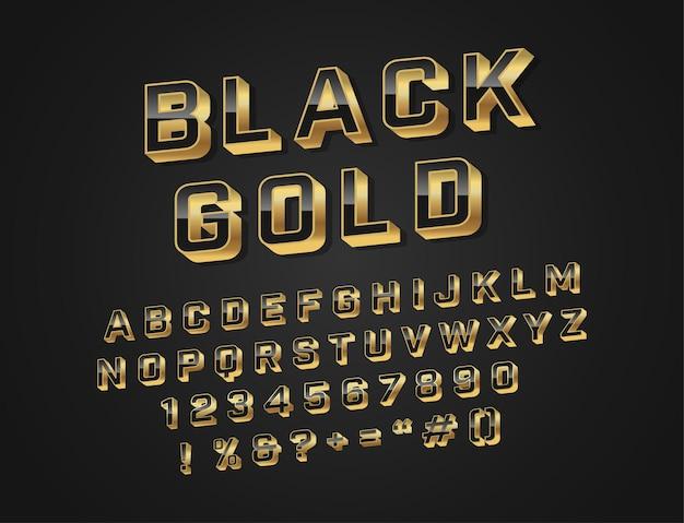 モダンな黒と金のアルファベットフォント