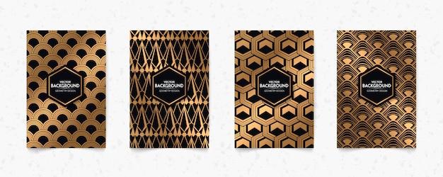 モダンなブラックとゴールドのパターンアールデコジオメトリスタイルテクスチャ背景。