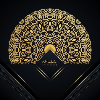 モダンな黒と黄金の曼荼羅の背景デザイン