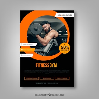 Modern black and orange gym flyer template with image
