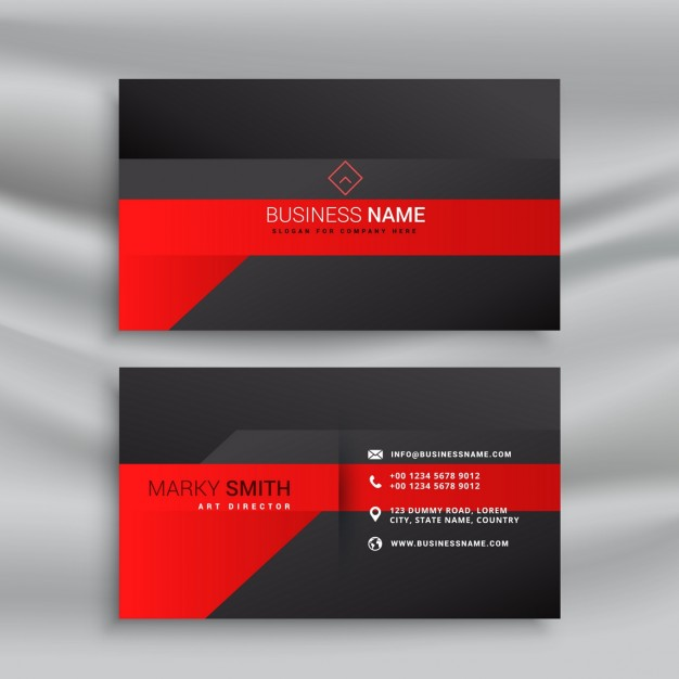 Modern black and red business card