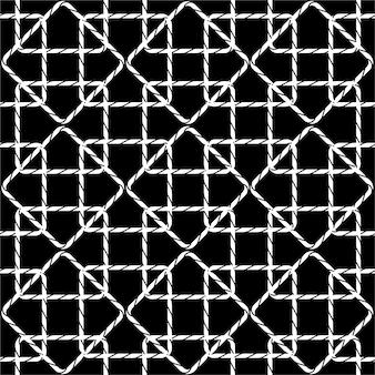 夏のロープの図のモダンな黒と白のシームレスパターン