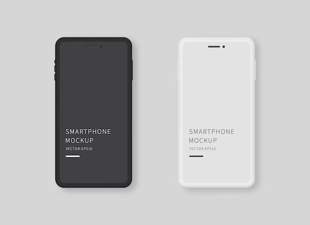 Современный черно-белый смартфон с пустым экраном макет дисплея смартфона изолированный вектор макета дизайн шаблона реалистичные векторные иллюстрации