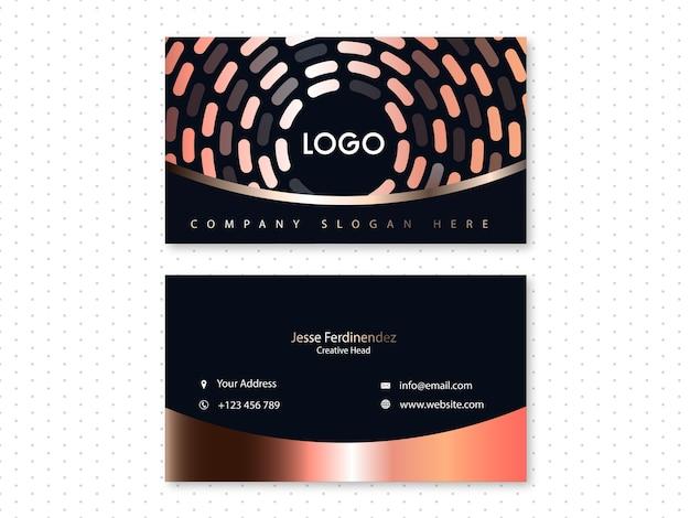 Современный черный фон и бронзовая визитная карточка