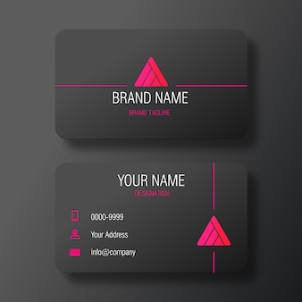 Modern black business card with abstract pyramid logo