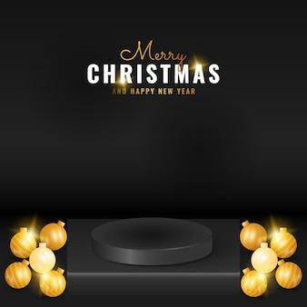 金色のボールでモダンなブラッククリスマスと新年あけましておめでとうございます表彰台製品のディスプレイ