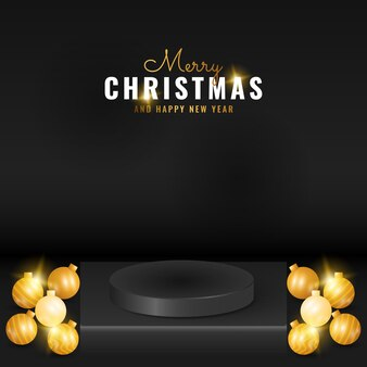Modern black christmas and happy new year podium product display with golden ball