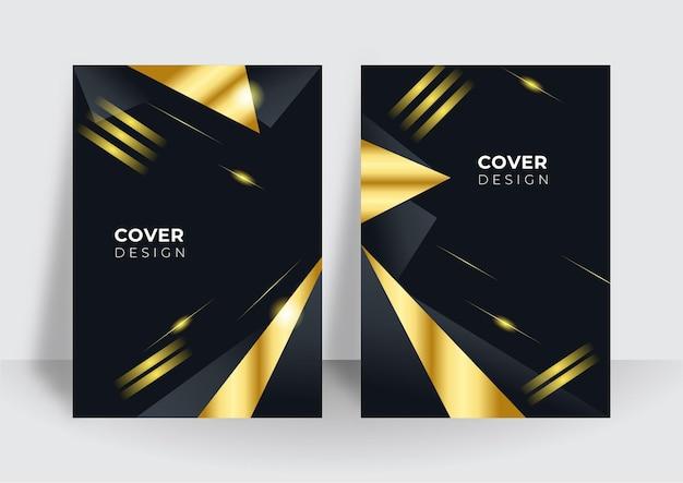 Modern black cover design set. luxury creative gold dynamic line pattern. formal premium vector background for business brochure, poster, notebook, menu template