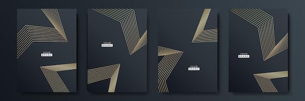 Современный черный дизайн обложки. роскошный креативный рисунок линии в премиальных цветах: черном, золотом и белом. формальный вектор для обложки ноутбука, деловой плакат, шаблон брошюры, макет журнала